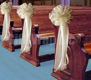 6 Large Ivory Cream Tulle Pew Bows Wedding Decoration