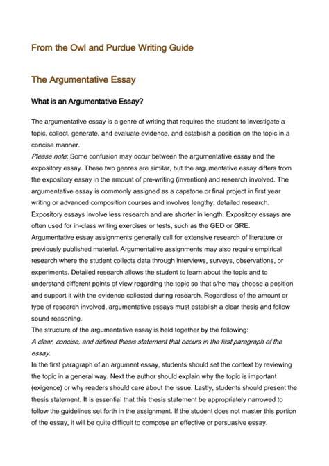 exles of argument essays
