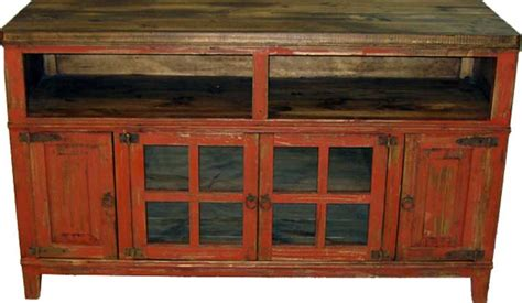 Rustic Antique Red Tv Stand, Antique Red 72