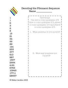 Math Set Fibonacci Sequence Worksheets