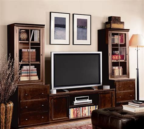 pottery barn media logan media suite with drawers and glass towers pottery barn