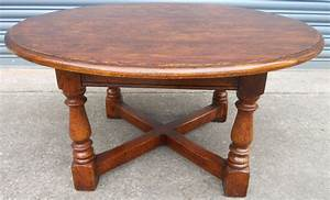 sold large round oak coffee table With large circular coffee table