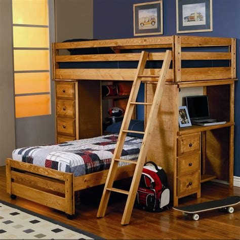 bed with ladder and desk awesome wood l shaped bunk bed with desk and ladder