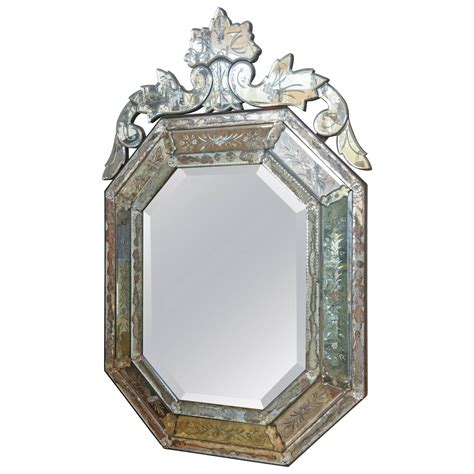 octagonal etched venetian mirror  antique row west