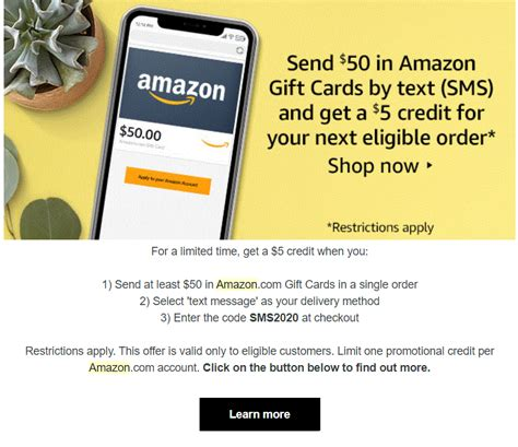 Do not purchase online amazon gift cards via email, especially with future date of delivery feature. Amazon send $50 gift card via SMS receive $5 credit YMMV