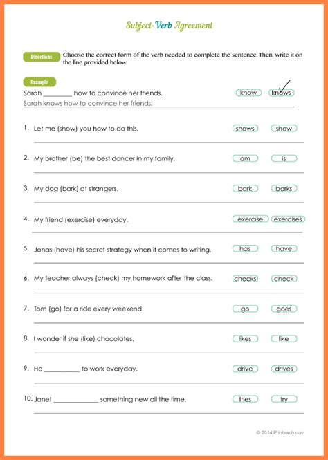 subject verb agreement worksheet with answers stinksnthings