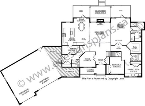 plan  ranch style bungalow   car garage covered veranda partially covered rear