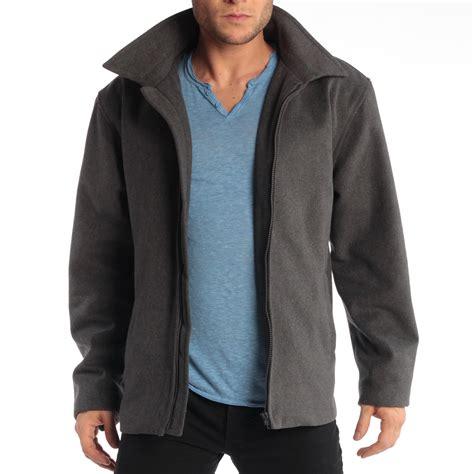 wool blend zip jacket alpine swiss grant mens 28 quot open bottom jacket wool blend