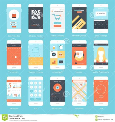the state of the modern smartphone user interface tested mobile ui stock vector image 44362260