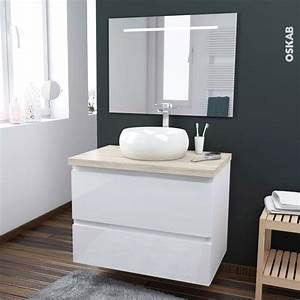 Meuble Salle De Bain A Poser : ensemble salle de bains meuble ipoma blanc brillant plan de toilette hosta vasque ronde miroir ~ Teatrodelosmanantiales.com Idées de Décoration