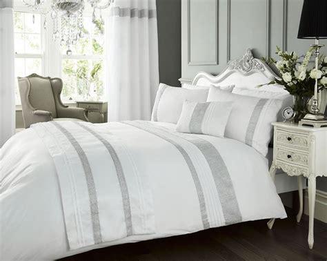 Bed Linens : Luxury Diamante Kimberley White Pintuck Duvet Quilt Cover