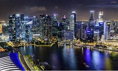 Night Skyline Singapore Water Near During Wallpapers
