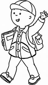 Caillou Coloring Going Hello Sheets sketch template