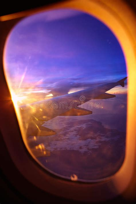 Sunset View From Airplane Window Stock Photo Image Of