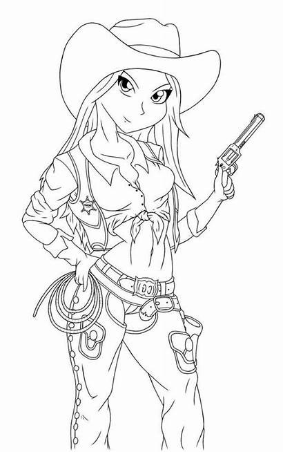 Coloring Cowgirl Horse Printable Outfit Outfits Sheets