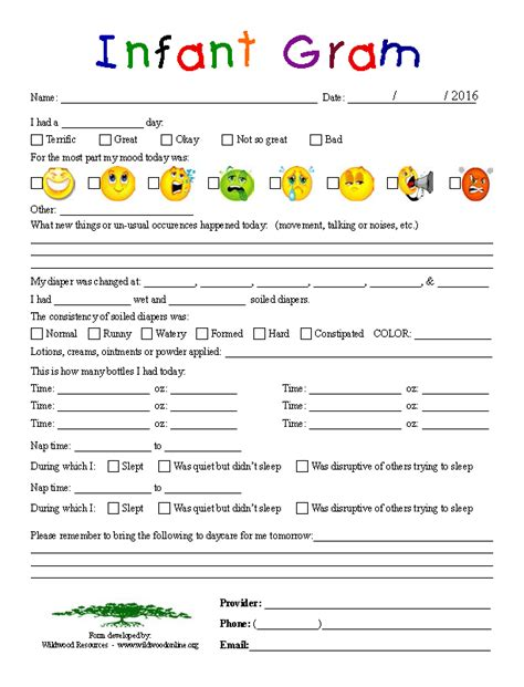 infant daily report form business tools