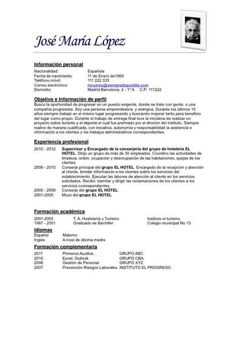 Modelos De Resume by Modelo De Curriculum Vitae Simple Ejemplos De