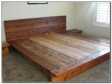 Rustic Wood Platform Bed Idea