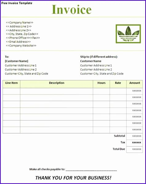 invoice template uk excel exceltemplates