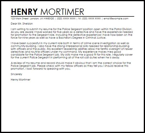 sergeant cover letter sle livecareer