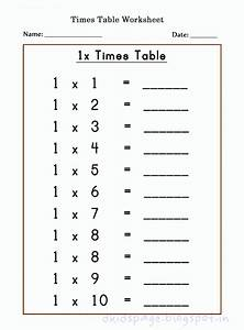 Kids Page  Printable 1 X Times Table Worksheets For Free