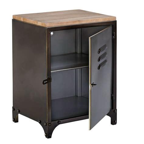 Table De Chevet Metal Table De Chevet Indus En M 233 Tal Et Sapin Wayne Maisons Du