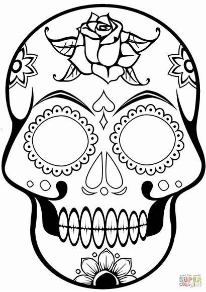 Coloring Skull Sugar Pages Printable Paper Drawing