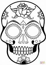 Coloring Skull Sugar Pages Printable Drawing Paper Crafts sketch template
