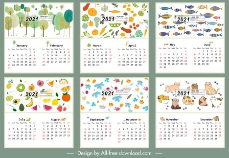 calendar template nature vegetables animals themes