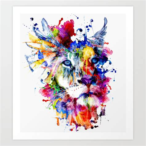 lion watercolor abstract animal colors creative wall