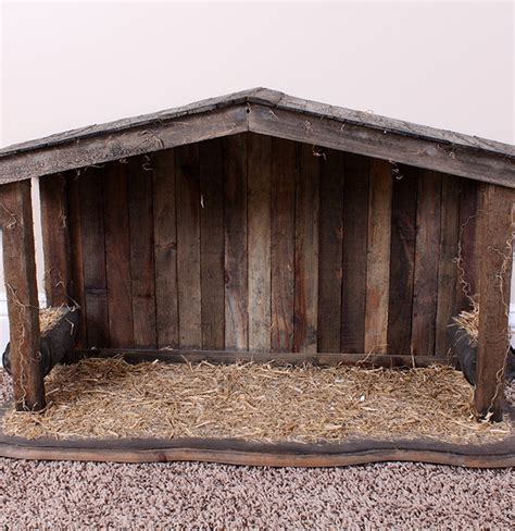 natural wood nativity stable ebth