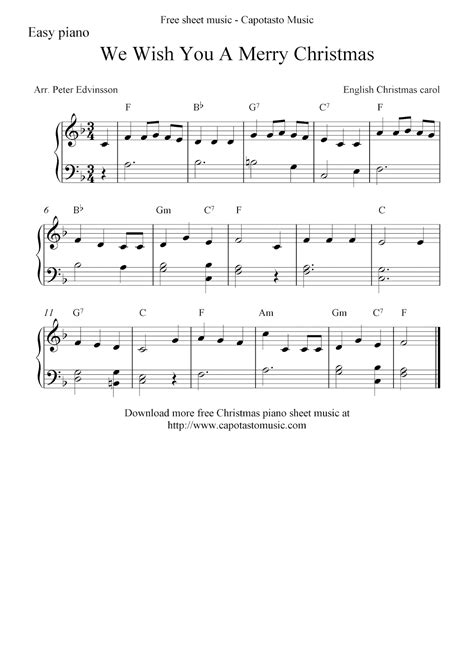 From very easy to intermediate, there is an arrangement suitable for your student here! Free Christmas sheet music for easy piano, We Wish You A Merry Christmas