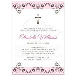 baptism favor tags pale pink and brown holy communion invitation with