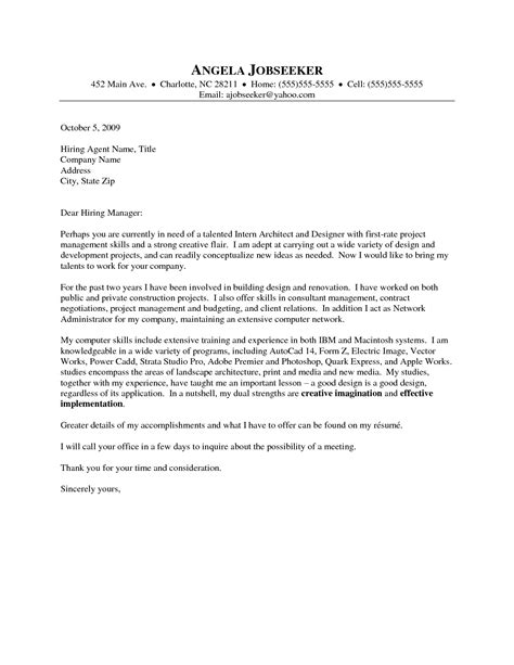 architectural cover letter sle the best letter sle