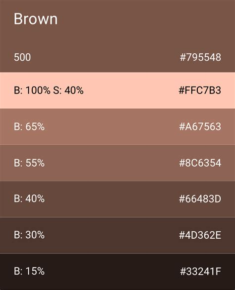 Brown Color by Color Style Android Wear Design Guidelines