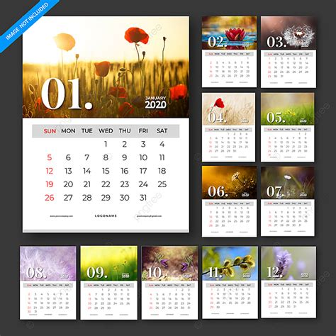 calendar  vector template design set   months