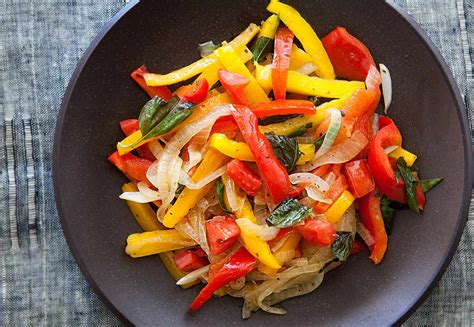peperonata sauteed peppers  onions simplyrecipescom
