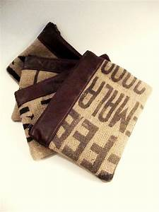 set of 4 letters jute utility pouch organizer gadget case With leather letter pouch