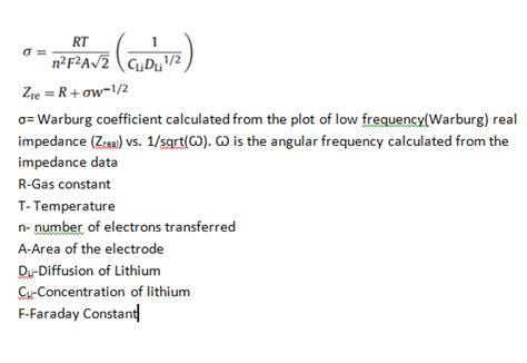 find  diffusion coefficient  warburg impedance