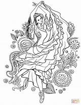 Coloring Gypsy Woman Dancing Pages Carmen Supercoloring Spain Drawing Dance Printable Adult Sheets Books Fairy sketch template