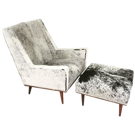Cowhide Chair And Ottoman by Milo Baughman Style Chair And Ottoman In Cowhide