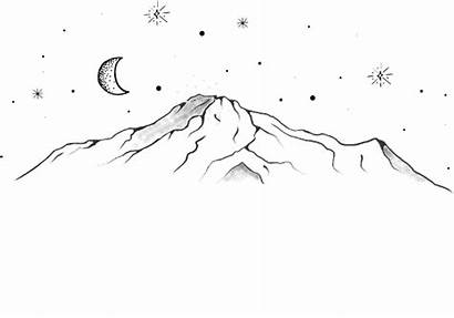 Aesthetic Moon Drawing Stars Simple Mountains Volcano