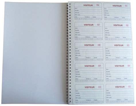 bureau registre des entreprises registre des visiteurs avec badges et cahier seton fr