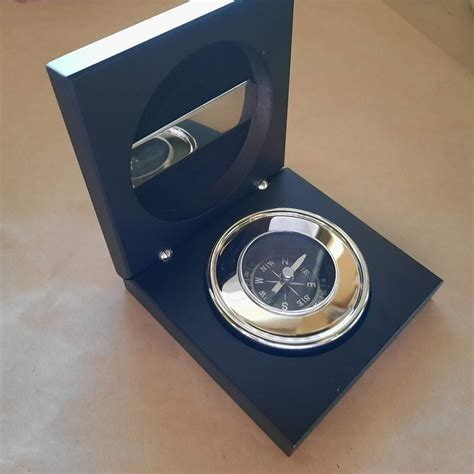 laser machine engraved compass silver chrome boxed  australia