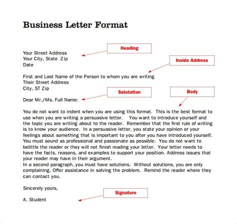 sample format  business letter   documents