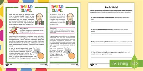 Roald Dahl Differentiated Reading Comprehension Activity