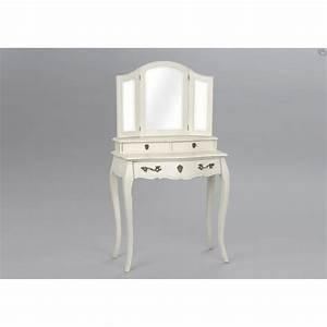 Coiffeuse 3 Miroirs : coiffeuse tiroirs murano 80 cm blanc cass vieilli patin ~ Teatrodelosmanantiales.com Idées de Décoration