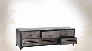 Meuble Tv Industriel Bois Metal : meuble metal noir avec les meilleures collections d 39 images ~ Teatrodelosmanantiales.com Idées de Décoration
