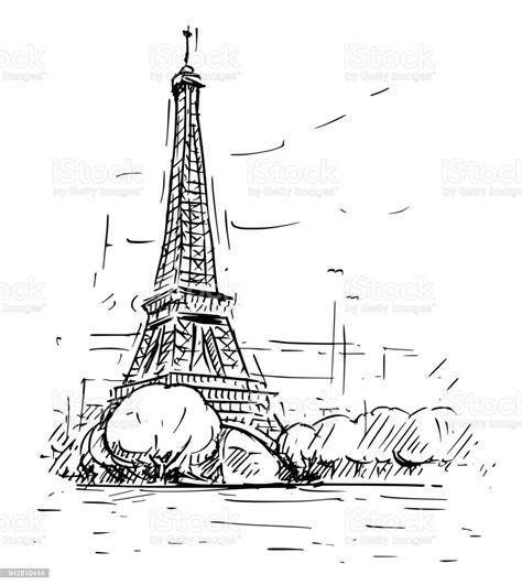 cartoon sketch  eiffel tower  paris france stock