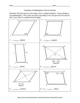 properties of color properties of parallelograms color by number by